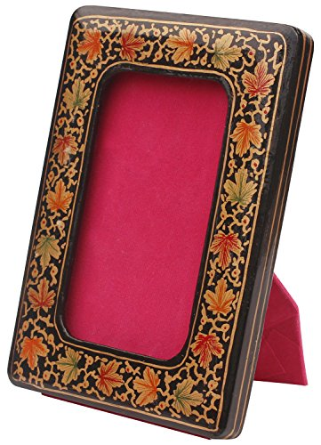 Special Price - SouvNear Photo Picture Frame - 3x5 inch (7x12 cm) Multi-Colored Rectangular Photo / Picture Frame - Chinar Leaf & Floral Motif - Handmade Ornament