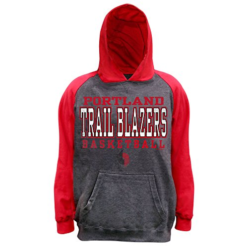 - NBA Portland Trail Blazers Unisex Pullover French Terry Hood, Char Hthr/Red, L