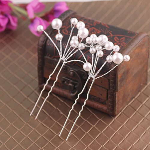 Ikevan Hot Selling Women 5Pcs Wedding Bridal bridesmaid Pearl Flower Headpiece Hair Pin (Oster 18 Teeth)