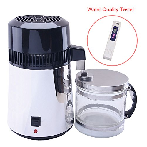 Slendor Countertop Water Distiller Machine 4L 750W Pure Water Distillation with Glass Carafe Outlet Stainless Steel with Water Quality Tester by Slendor