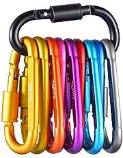 Zalava 10 Stück D-Ring Karabiner mit Schraubverschluss, Aluminium Schlüsselanhänger Karabinerhaken, Schraubkarabiner für Camping, Angeln, Wandern Oder Reisen