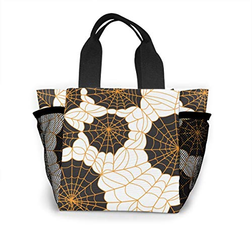 (Xiaoxiaodada Halloween Spider Web Shopping Tote for Women Insulated Lunch Tote Bag Cute Lunch Box Lunchbox Reusable Lunch Bag Lunch Organizer Lunch Holder for Women Adult Girls Kids)