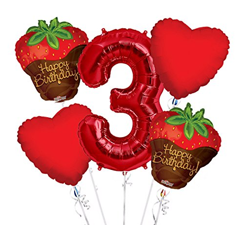 Strawberry Chocolate Balloon Bouquet 3rd Birthday 5 pcs - Party Supplies