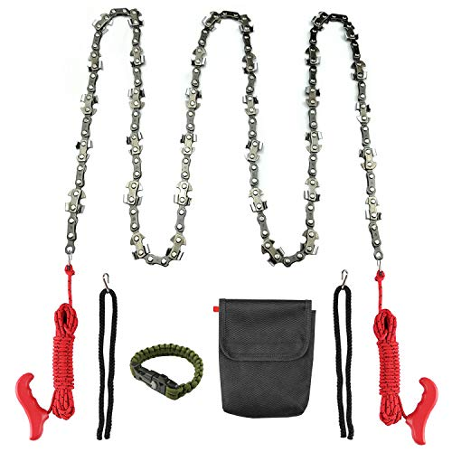 Toolshouse 52 inch Hand Chain Saw with Survival Bracelet, Long High Limb Rope-and-Chain Saw with 34 Blades on Both Sides and Two 5M Ropes for Cutting High Branch