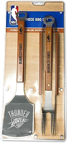 SPORTULA PRODUCTS SS-SP-9021698 9021698 Sportula 3Piece Stainless Steel BBQ Set, Oklahoma City Thunder