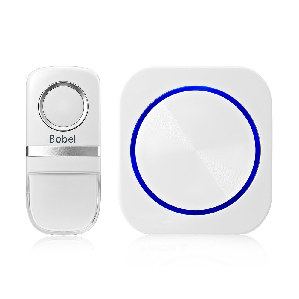 Bobel Wireless Doorbell for Home Waterproof Chime Kit with Remote Button No Battery Required Operating at 500 Feet Range with 58 Chimes 4 Level Volume LED Indicator-White