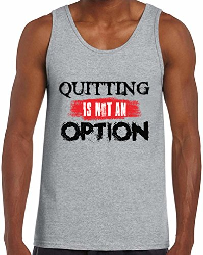 Awkward Styles Men's Quitting Is Not An Option Tank Tops Workout Motivation Never Give Up Grey L