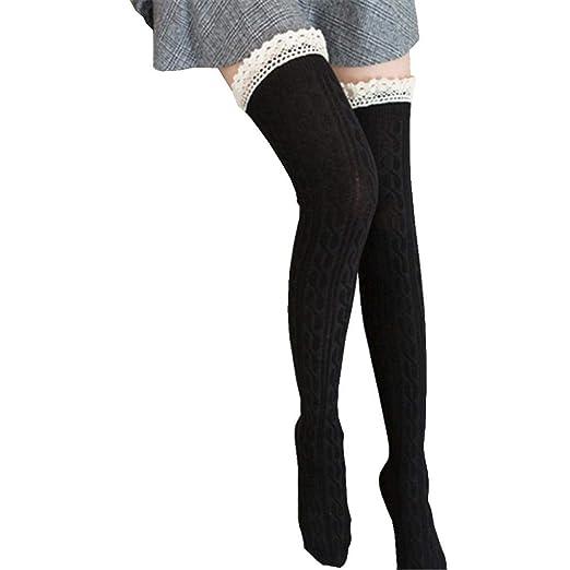 65ecd326b75 Amazon.com  FORUU Women Over The Knee Long Socks Lace Thigh High ...