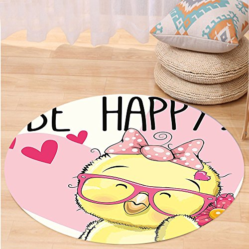 VROSELV Custom carpetKids Be Happy Quote Cartoon Style Chicken Glasses Bow Tie Heart and Flowers for Bedroom Living Room Dorm Pink Light Yellow Black Round 72 inches