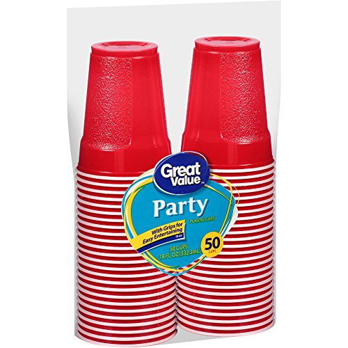 Party Great Value 18 Oz Grip Disposable Plastic Cups, 50ct, Red