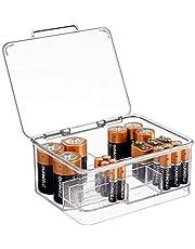 mDesign Pojemnik na baterie o różnej wielkości – pojemnik na baterie z pokrywką z tworzywa sztucznego – podzielone pudełko do przechowywania baterii, akumulatorów – przezroczyste