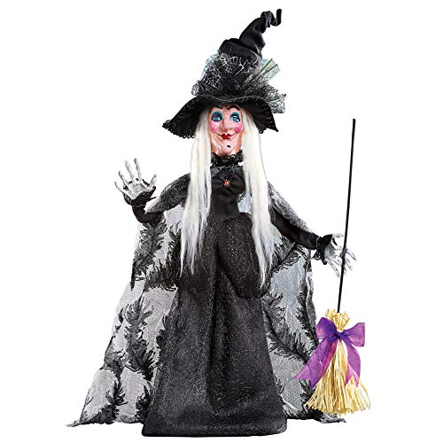 Collections Etc Halloween Witch in Long Black Dress with Broom and Spiderweb Tulle Hat Tabletop Decoration