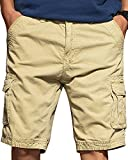 JoJoJoy Men's Casual Loose Fit Cargo Shorts, Straight Multi-Pocket Cotton Outdoor Wear Upgrade Khaki Size 34