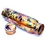 DSH Copper Bottles for Water 1 Litre Printed Design with Fine Art Work, Yoga Water Bottle 1000 ML (Color 07)
