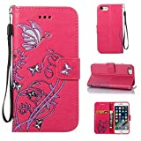 iPhone 7 Case, CUSKING Wallet Case Butterfly Flower Pattern Kickstand Shockproof Cover