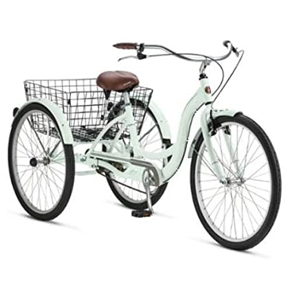Amazon.com   Adult Schwinn Tricycle Three (3) Wheeled Trike Men s Women s  Bicycle Red Mint Green Blue Silver Grey Bike with Metal Wire Shopping  Basket Beach ... 21d8a676db9e