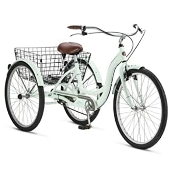 Adult Schwinn Tricycle Three (3) Wheeled Trike Men's Women's Bicycle Red  Mint Green Blue Silver Grey Bike with Metal Wire Shopping Basket Beach