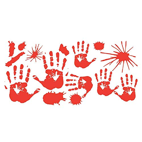 Halloween Party Decor Bloody Hand Foot Print Sticker Wall Ornament Waterproof A OneSize for $<!--$2.36-->