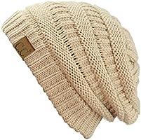 C.C Trendy Warm Chunky Soft Stretch Cable Knit Beanie Skully, New Beige