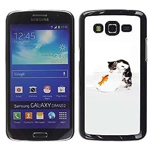 Smartphone Rígido Protección única Imagen Carcasa Funda Tapa Skin Case Para Samsung Galaxy Grand 2 SM-G7102 SM-G7105 Funny Cute Cat & Goldfish / STRONG