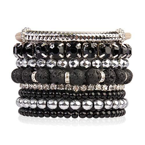 Black Gold Silver Bracelets - RIAH FASHION Multi Color Stretch Beaded Stackable Bracelets - Layering Bead Strand Statement Bangles (Natural Stone - Lava/Silver, 7)