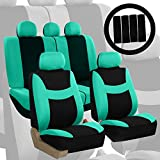 FH Group FH-FB030115-COMBO Light & Breezy Mint/Black Cloth Seat Cover Set Airbag & Split Ready- Fit Most Car, Truck, Suv, or Van