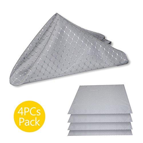 ColorBird Elegant Waffle Jacquard Cloth Napkin Waterproof Spillproof Microfiber Fabric Napkins, Set of 4, 17 x 17 Inch, Grey