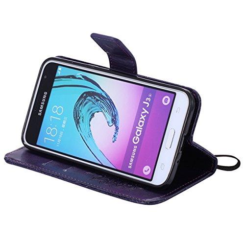Carcasas y fundas Móviles, Para Samsung Galaxy J3 J310 Funda, Sun Flower Diseño de impresión PU cuero Flip Wallet funda protectora con ranura para tarjeta / soporte para Samsung Galaxy J3 / J310 2016  Purple