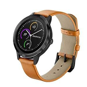 Orange Watchband for Garmin Vivoactive 3/ Vivomove HR, Genuine Leather, Soft, Comfortable (for Vivoactive 3)