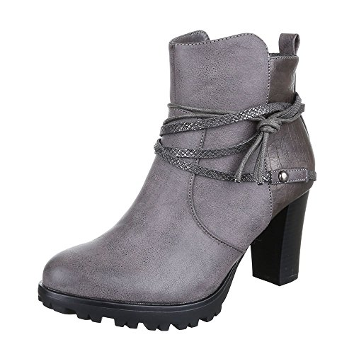 Ital-Design - Botas de Material Sintético para mujer gris
