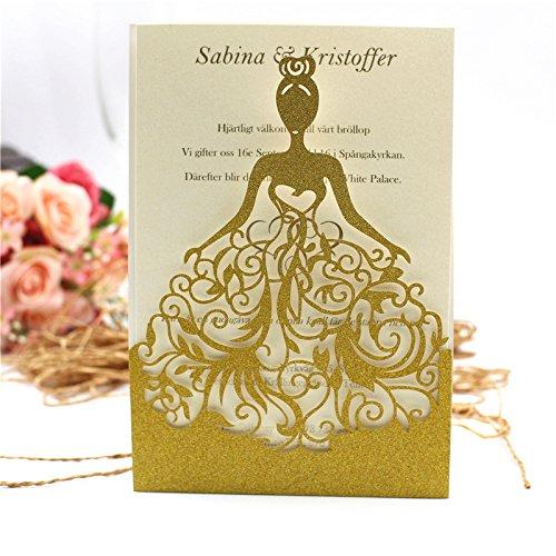 PONATIA 25PCS Lacer Cut Wedding Invitations Card Hollow Bride Invitations Cards for Wedding Bridal Invitation Engagement Invitations Cards (Gold Glitter)
