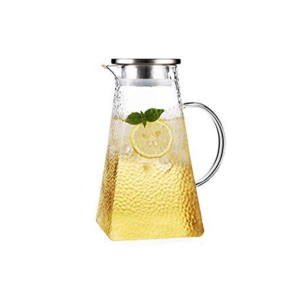 Glass Pitcher with Stainless Steel Strainer Lid Water Carafe for Homemade Juice & Iced Tea Hot or Cold Water Jar 46 Oz