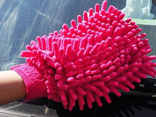 Fengh Mikrofaser Chenille Auto waschen Handschuh Reinigung Handschuh _ Rot
