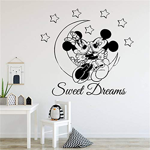 (Wikaus Mickey Minnie Mouse Wall Art Decal Sticker Sweet Dreams Mouse Moon Stars Wall Sticker Mickey Minnie Kids Boys Girls Home Decoration)