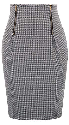 Black White Pencil Pinstripe - Women's High Waist Bodycon Career Office Midi Pencil Skirt Size S,Black+White