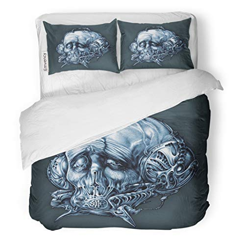 (Semtomn Decor Duvet Cover Set Full/Queen Size Fantastic Character in Helmet Gas Mask Cyberpunk Steampunk Space 3 Piece Brushed Microfiber Fabric Print Bedding Set)