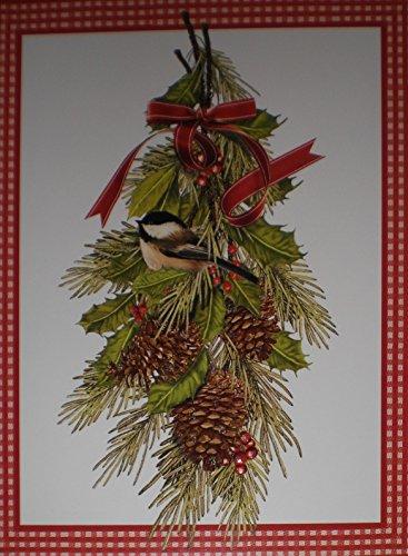 (Glittered Mistletoe / Bird / Pinecones Note Cards w/ Envelopes)