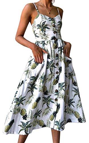 Women's Sleeveless Pockets Hawaiian Pineapple Print Swing Midi Vacation Dresses XL,White -