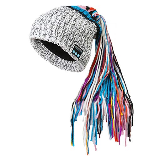 (BTFBM Unisex Music Beanie Hat Washable Cap Compatible with Smartphones, Tablets, iPhone, iPad, Android, Samsung Galaxy, laptops, PC (MZ029_White))