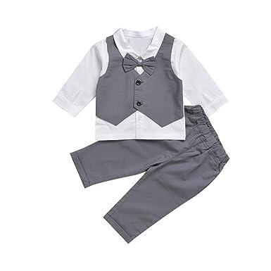 97f3f332f7b96 Nouveau-né Bébé Garçon Gentleman Party Tenues habillées Cravate à Manches  Longues Chemise Haut +