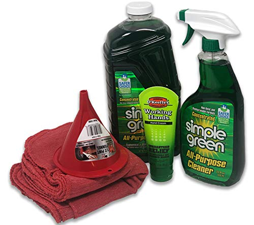 (Simple Green Concentrate All-Purpose Cleaner (Bundle Kit) - Includes 22 oz Spray Bottle, 67 oz Refill, 10 Red Shop Towels and 3 oz O'Keefe's Working Hands Hand Cream)