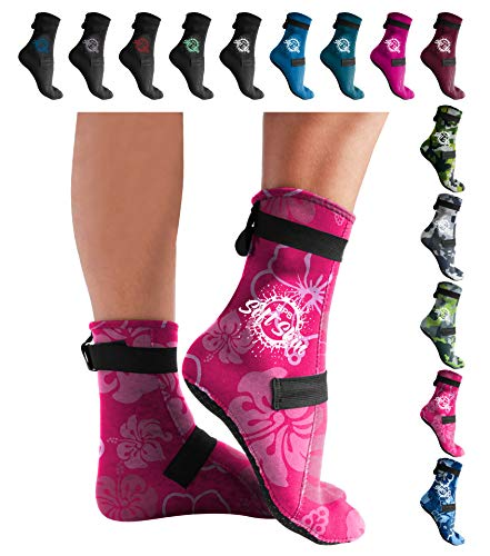 BPS 'Soft Skin' 3mm Neoprene Socks with Grip - Adjustable Fit for Swim Flippers, surf, Snorkel, Kayak, Dive and Other Water Sport - High Cut (Floral Pink, M)