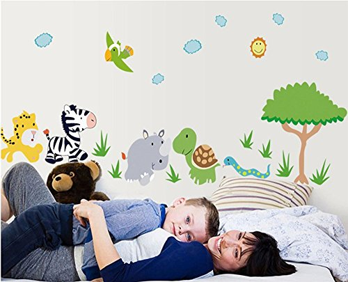 Creative Wallpaper Kids (Amaonm Cute Cartoon Forest Natural Wildlife Zoo Animals Zebra Hippo Tortoise Tiger Snake Birds with Green Tree Grass Wall Decals Wall Stickers Murals Peel Wallpaper for Kids Bedroom Nursery Classroom)