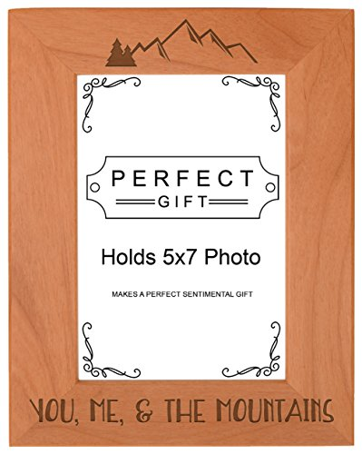ThisWear Mountain Gift You Me & The Mountains Frame Love Photo Frame Wood Engraved 5x7 Portrait Picture Frame Colorado Portrait Picture Frame