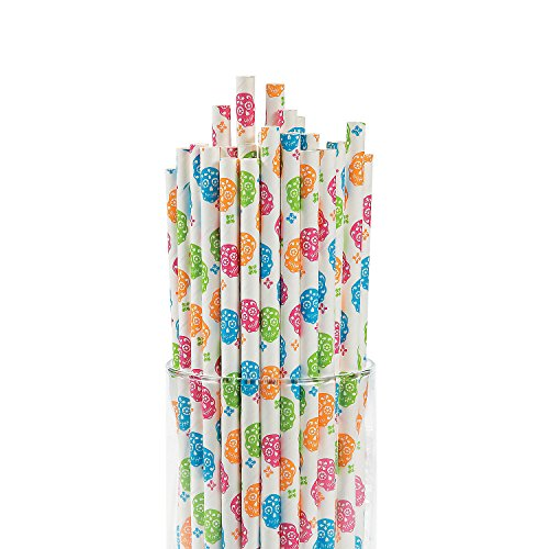 [Day of the Dead Paper Straws - 24 ct] (Day Of The Dead Supplies)