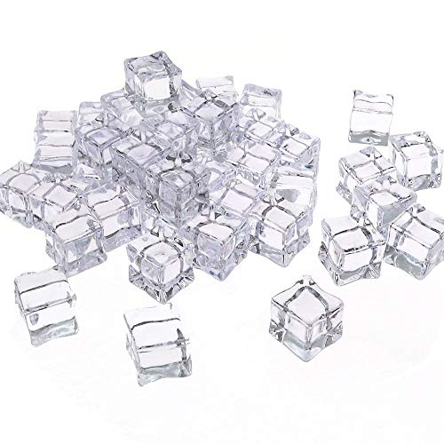 Outuxed 48pcs 0.8 Inches Clear Fake Acrylic Ice Cubes Square Shape for Photography Props or Decorations