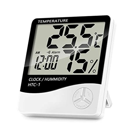 Monitor de Humedad de Temperatura Digital Interior, termómetro higrómetro de habitación con Reloj de Alarma