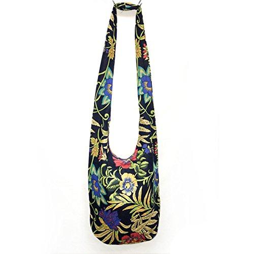 KARRESLY Bohemian Cotton Hippie Crossbody Bag Hobo Sling Bag Handmade Messenger Shoulder Bags(12-1229)