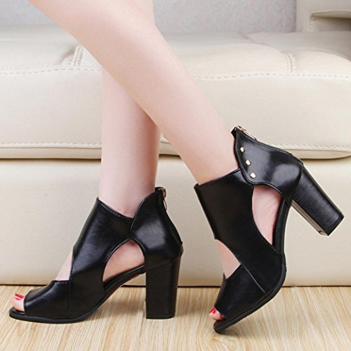 Big Promotion! Neartime Women Sandals, Fashion Learther Fish Mouth High Heel Shoes Zipper Hollow out Short Boots Single Shoes