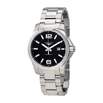 Image Unavailable. Image not available for. Color  Longines Conquest Black  Dial Stainless Steel ... 1b39049a24f
